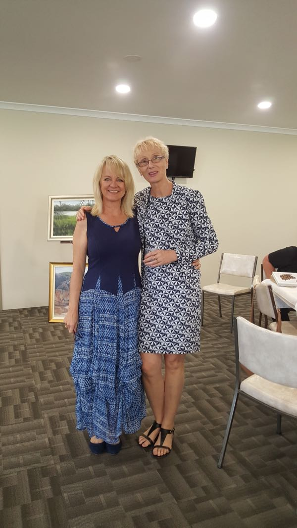 Jo and Jana at York Community Resource Centre. Dame Edna look-alike main act.