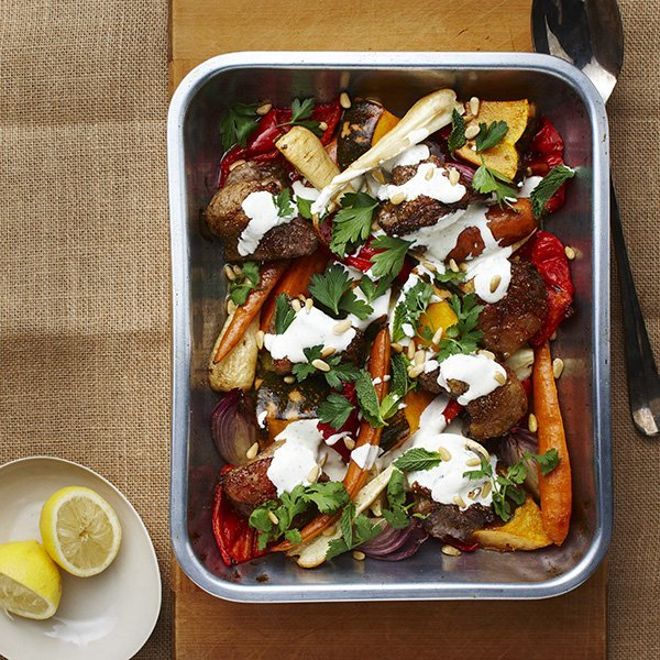 How to incorporate dairy into your daily diet, pic of spiced-lamb-and-winter-vegetable-tray-bake-with-yogurt-pine-nuts-and-herbs