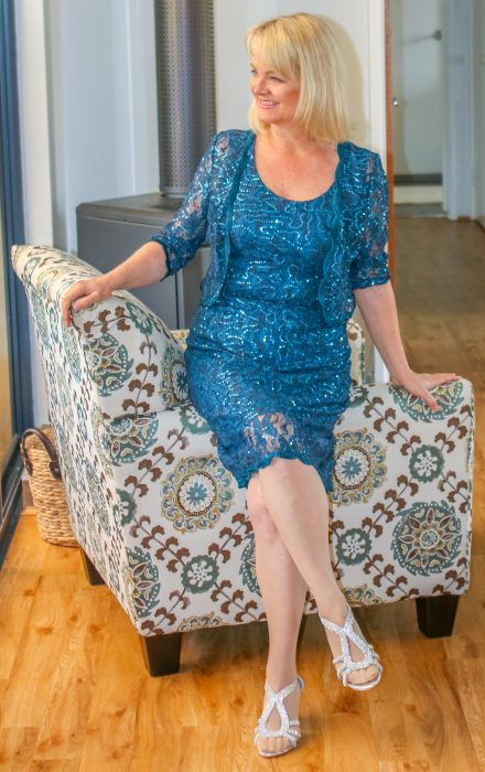 Woman in sparkly blue dress - Super style tips for women over 50