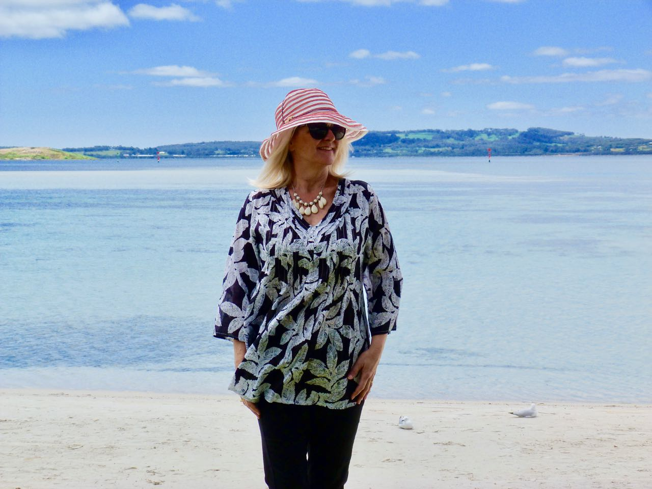 Everyday Style for women over 50. Outfit of the Day, Leaf Print Blouse