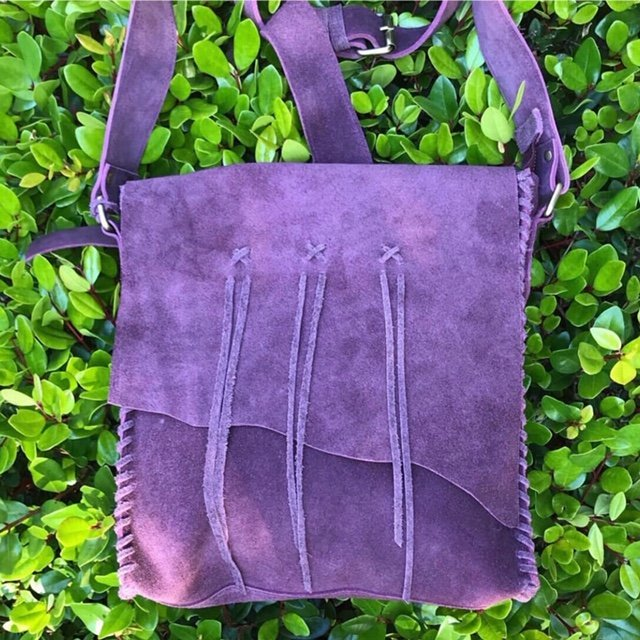 Travel & Living Collection. Lilac suede bag. Boho chic fashion.