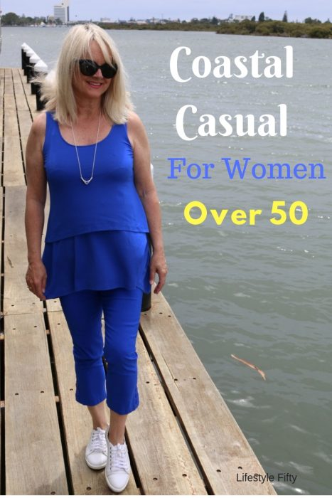 Weekend Wear, Coastal Style, blue outfit for women over 50.