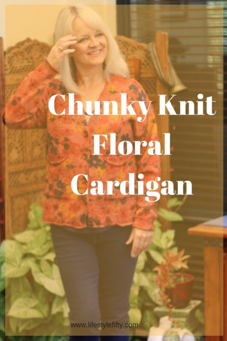 Chunky Knit Floral Cardigan