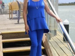 Weekend Wear. Coastal Casual. Blue Bengaline pants, top and FRANKiE4 sneakers