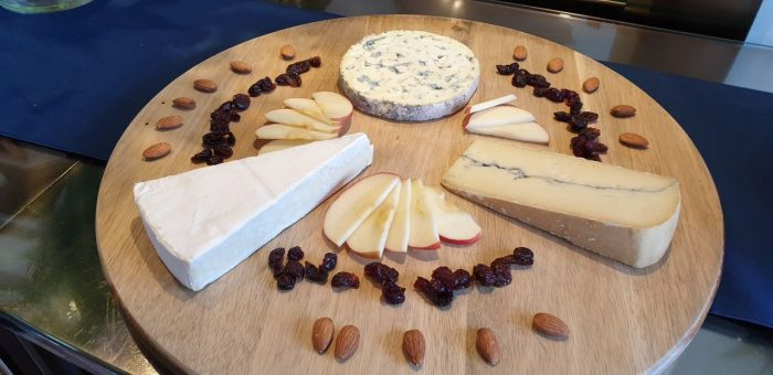 Cheese platter on a barge cruise in France
