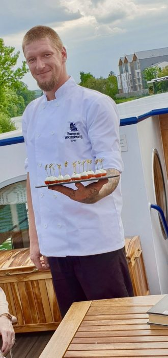 Chef, Arnie on Le Panache - canal trips in France