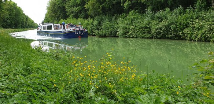 Canal holidays in France don't get much better than this. Panache cruising the River Marne