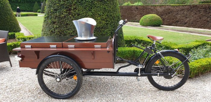 Vintage delivery bicycle. Chateau les Aulnois in France on an excursion with European Waterways on a luxury barge cruise in Champagne region.