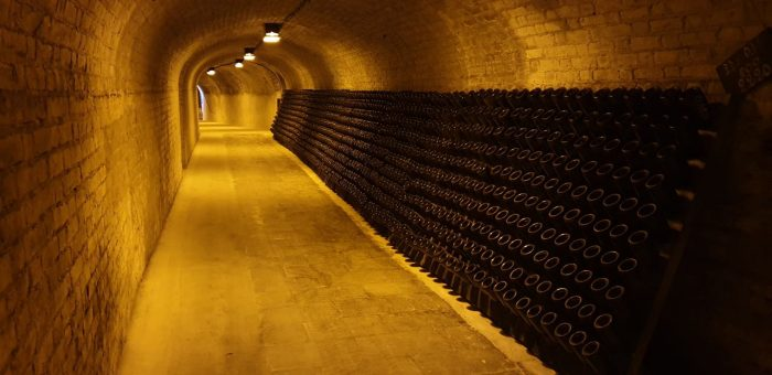 Cellars at Moet et Chandon in Epernay. An excursion during the Champagne barge trip in France with European Waterways.