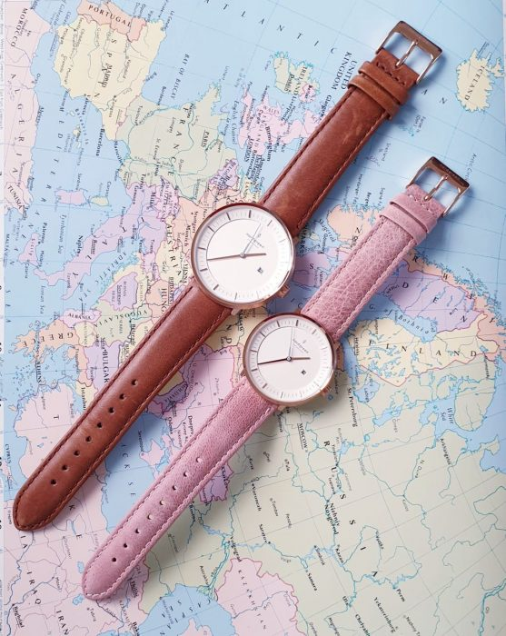 Leather watches by Nordgreen. Brown leather and dusty pink.