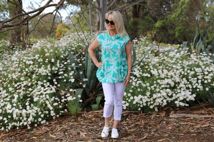Personal style after 50, capri pants and blouson top with sneakers