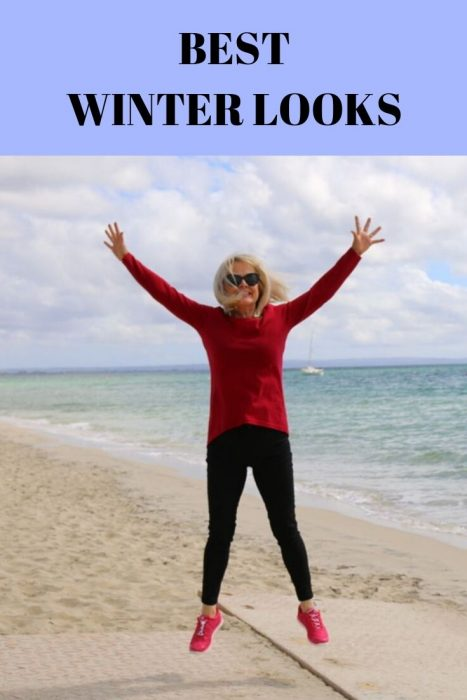 Best WINTER LOOKS, girl jumping on beach