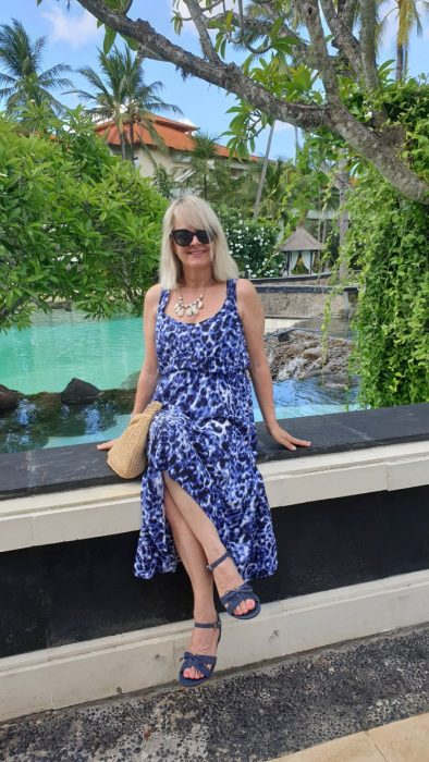 Woman in blue dress - packing list for Bali