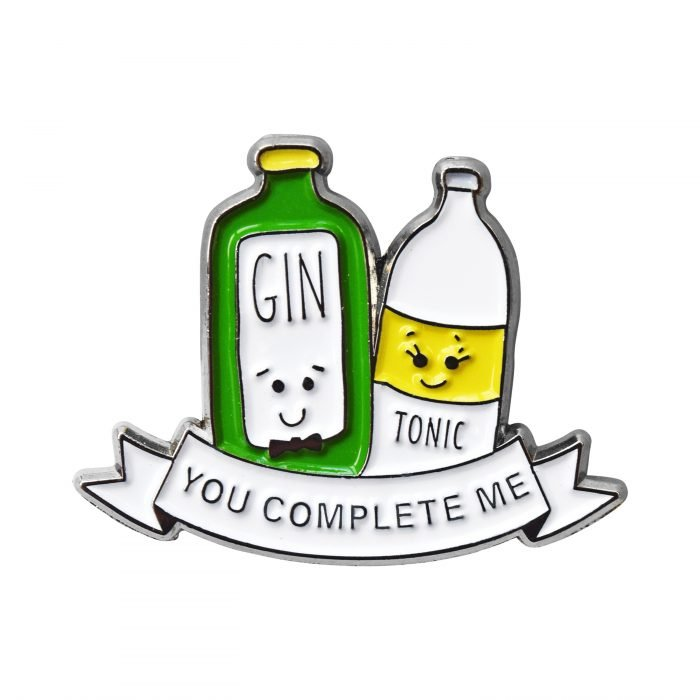 Gin Tonic You Complete Me gift pin badge