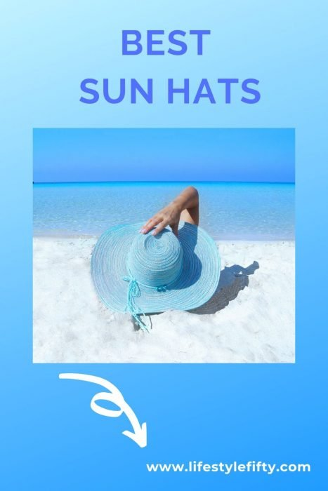 Best sun hats - beach scene and blue hat