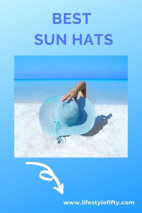 Best sun hats - beach scene and blue hat
