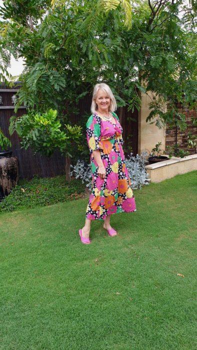 Gerbera print dress, casual outfit idea