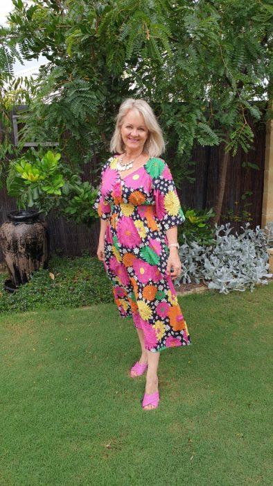 Lady in flower dress