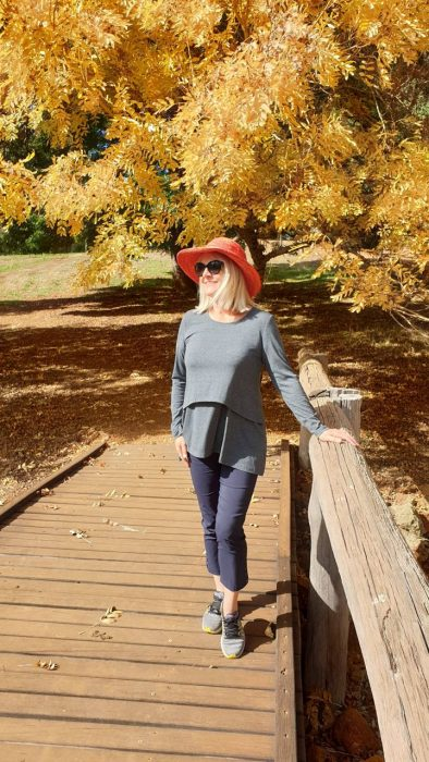Fall scenery and woman in hat