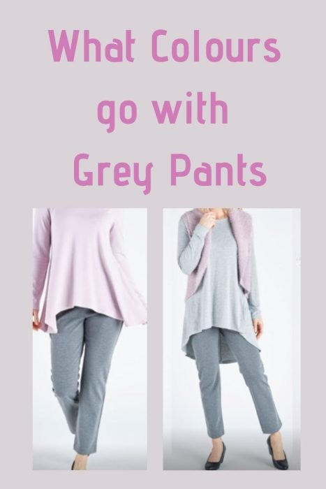 Pink top with grey pants