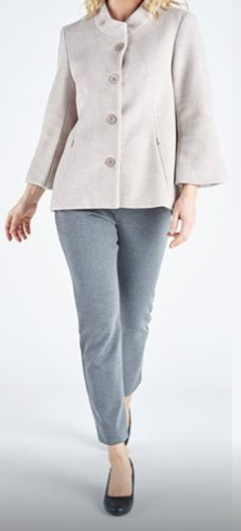 Comfortable outfit, grey pants and beige jacket