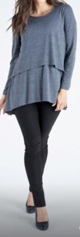 Grey top and black ponte pants