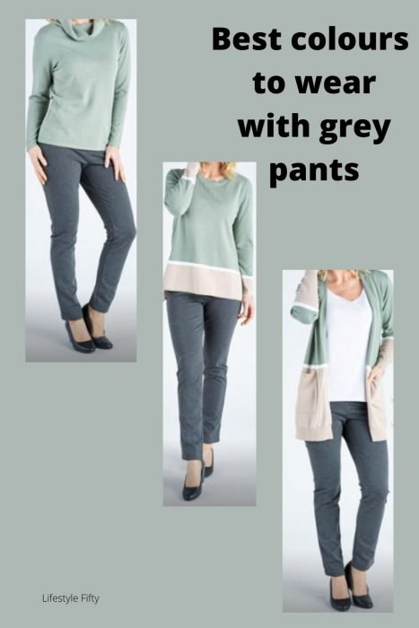 Best Colours to wear with grey pants - pic featuring green top and grey pants