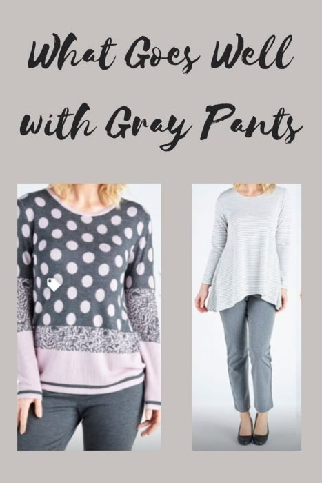 Polka Dot top and Striped top with grey pants
