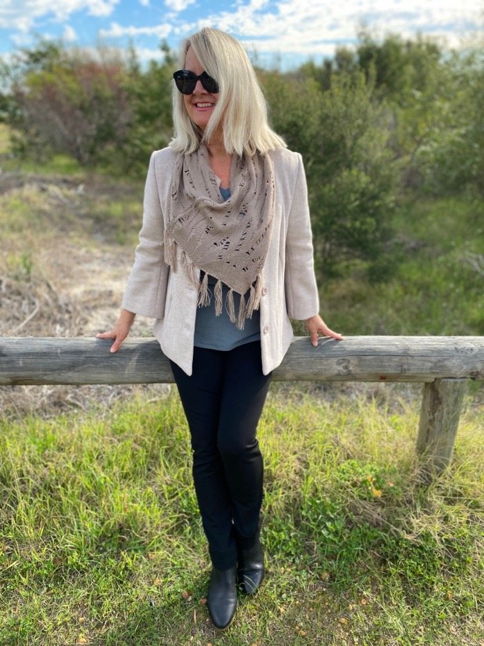 Yarra cropped tailored jacket with scarf