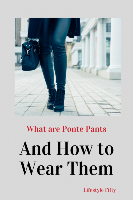 Women in black pants. Image with text overlay. Post - Ponte Pants