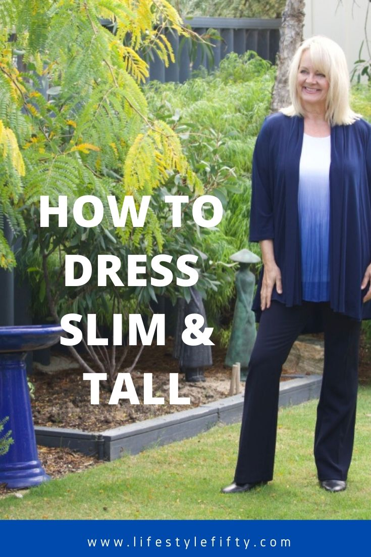 How to dress to look slim and tall, image of woman in blue outfit