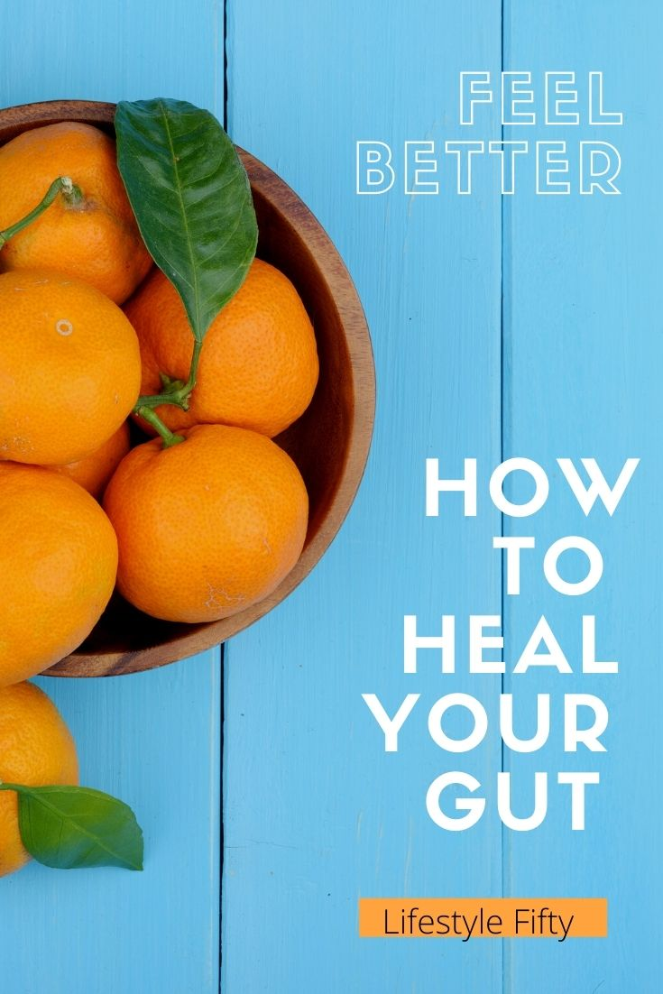 Oranges with text overlay, from How to Heal your Gut Naturally blog post.