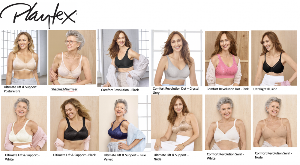 Photographs of women wearing comfy bras