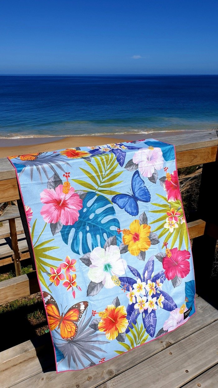 Beach scene and beach towel