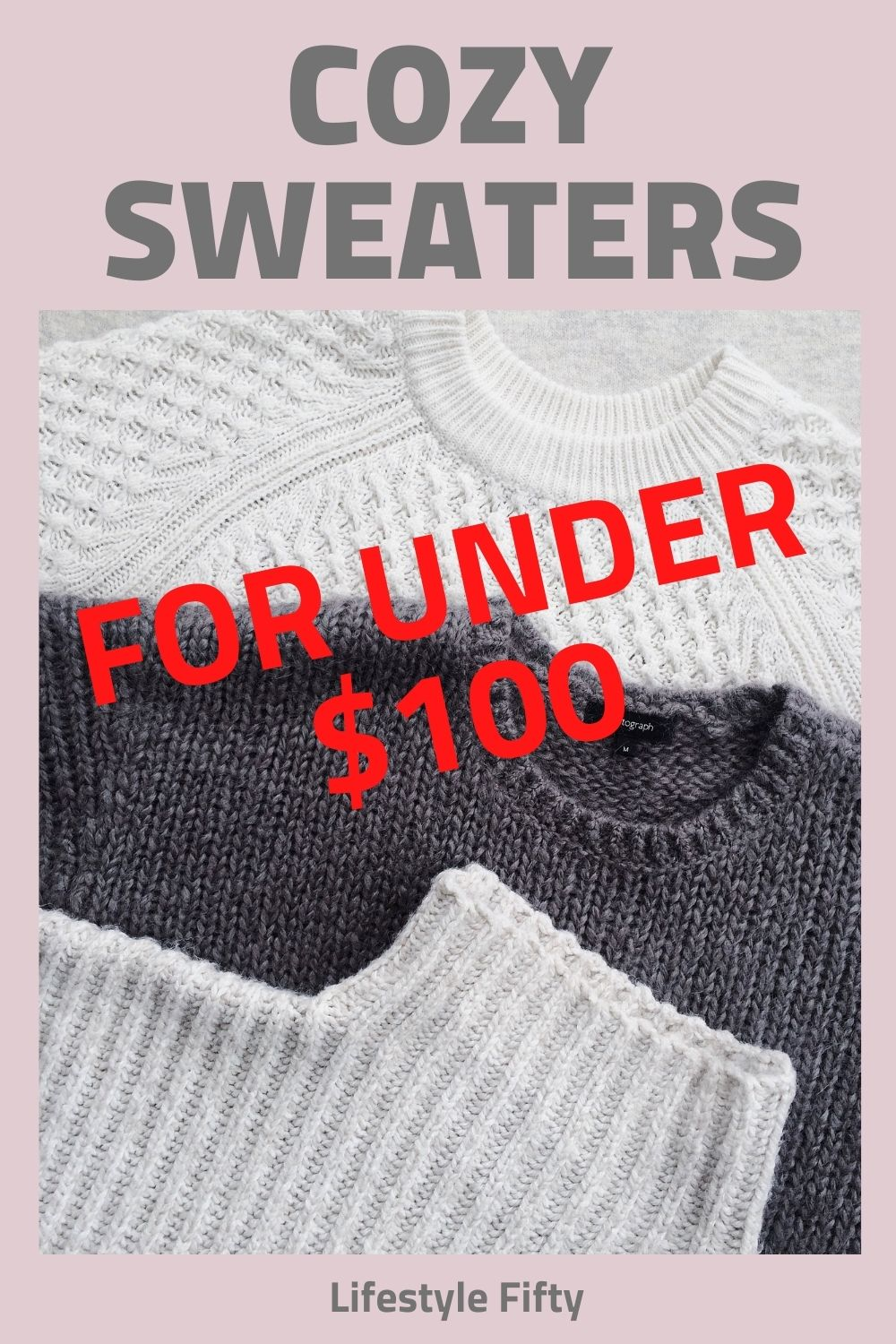 Sweaters laid flat and a text overlay for the post cosy sweater favourites.