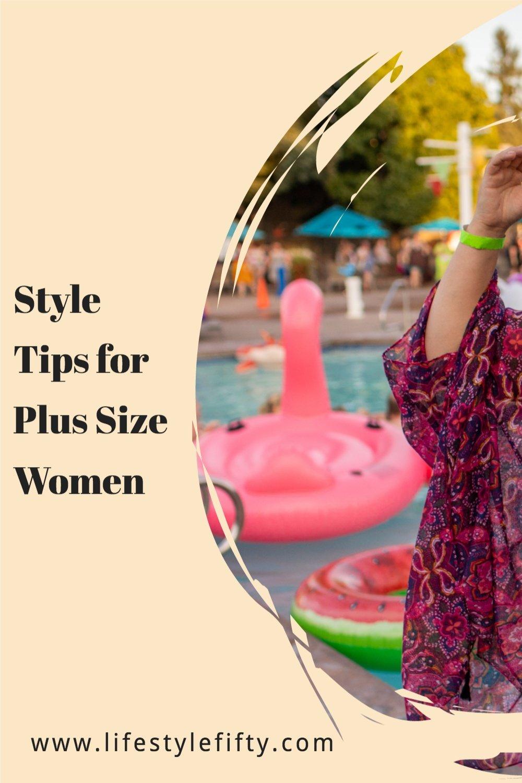 plus size women fashion tips, text overlays photo