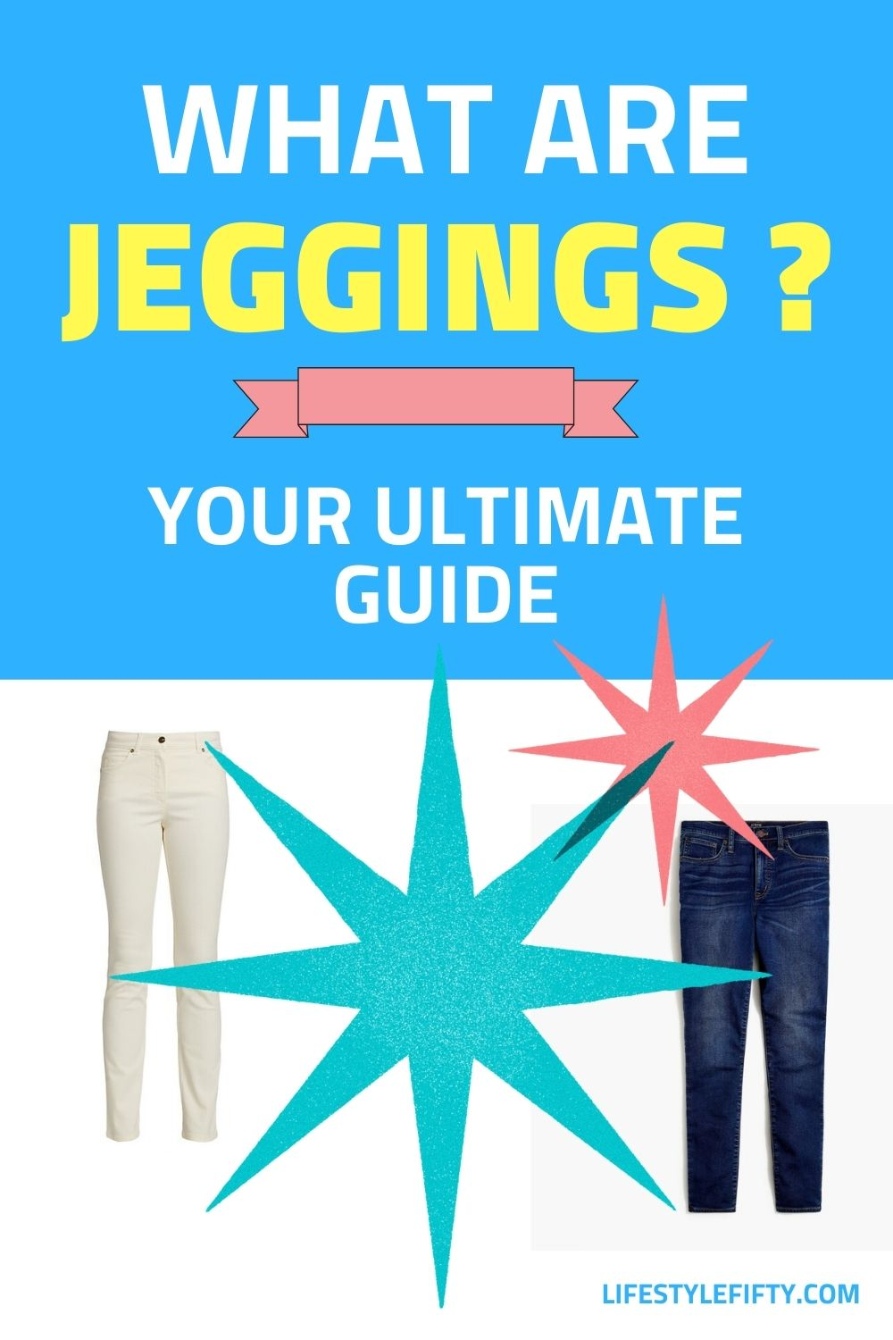 Poster featuring jeggings and text overlay graphics