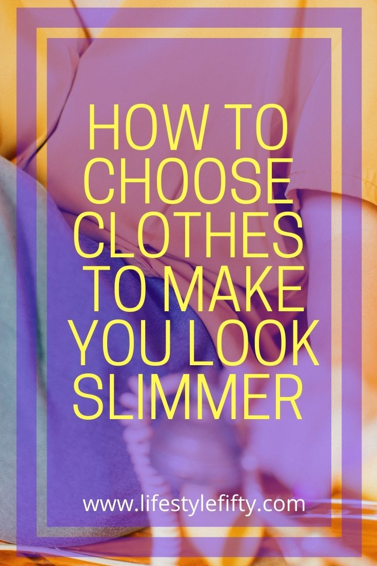 how-to-choose-clothes-to-make-you-look-slimmer, text overlay lilac background