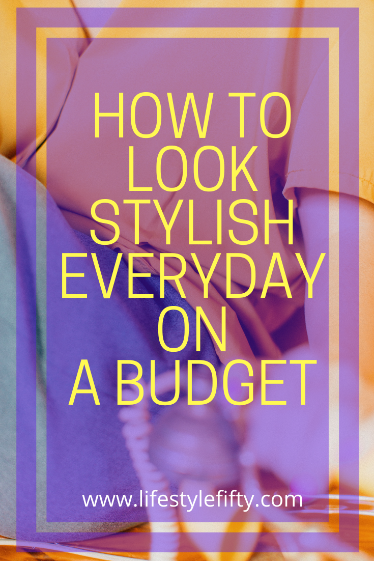 Text overlay purple and yellow background, how-to-look-stylish-on-a-budget